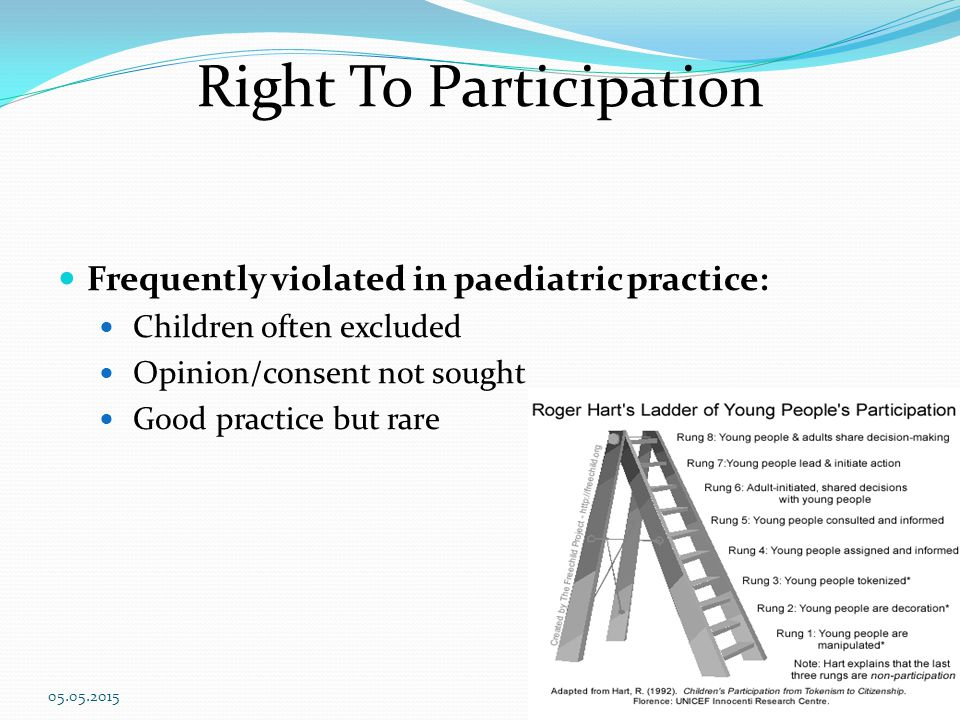 Right To Participation Frequently violated in paediatric practice: Children often excluded Opinion/consent not sought Good practice but rare 05.05.201516