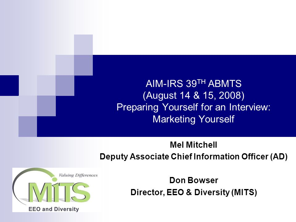 AIM-IRS 39 TH ABMTS (August 14 & 15, 2008) Preparing Yourself for an Interview: Marketing Yourself Mel Mitchell Deputy Associate Chief Information Officer (AD) Don Bowser Director, EEO & Diversity (MITS)
