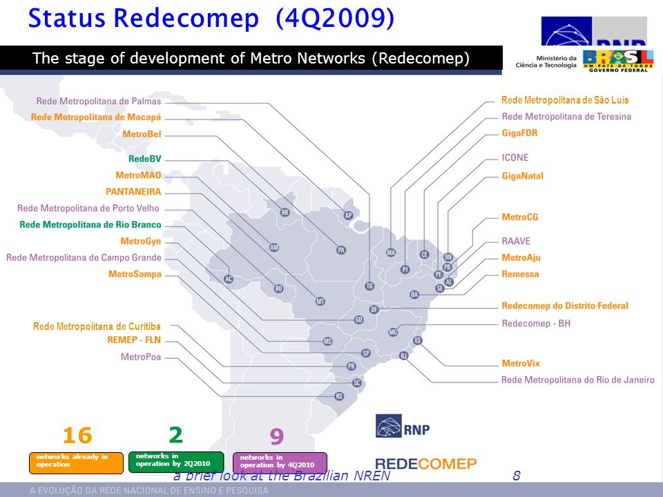 GIGA Phase 2: Future Internet testbed The original project was funded until 2007 New project submitted by RNP and CPqD to fund future testbed activity In 2009, CPqD once more funded by Funttel, and RNP via MCT RNP will extend testbed to up to 24 states from 2011 In this phase focus on Future Internet experimentation International relations with GENI, OpenFlow and, we hope, with EU projects Coordinated calls Brazil-EU in Future Internet in 2010: –Experimental facilities –Security a brief look at the Brazilian NREN29
