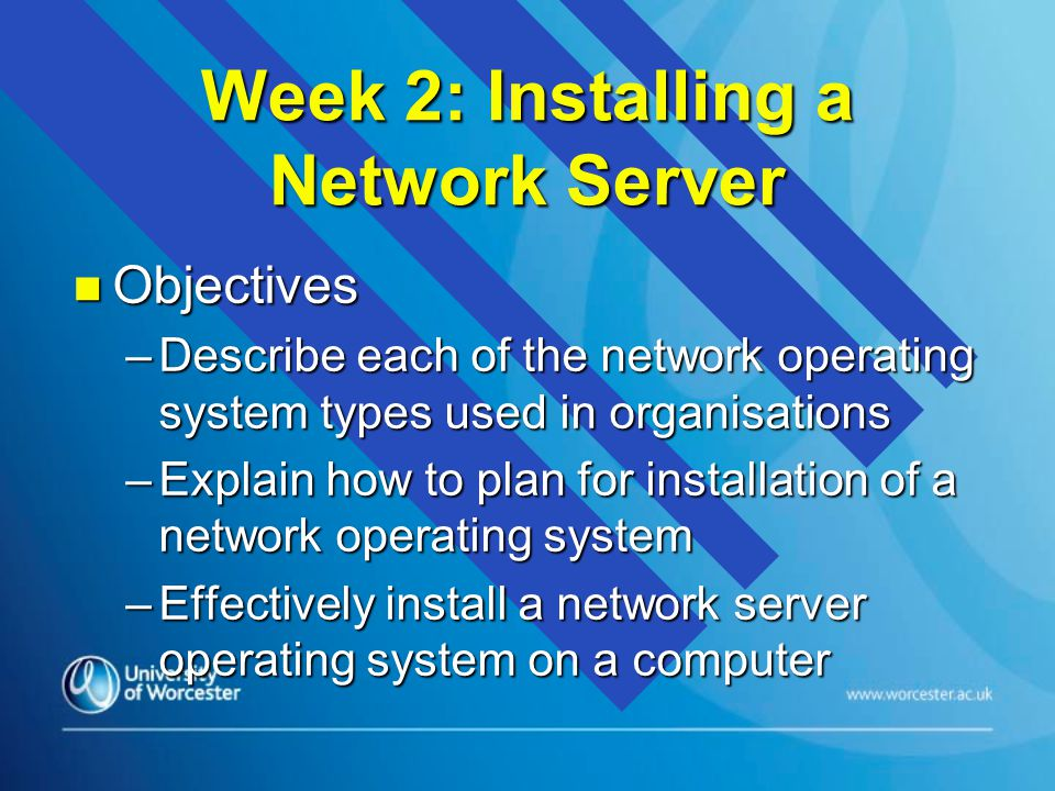 Automatic Installations n The first server on the network should always be installed manually n However, NOSs allow capabilities for the automatic installation of clients n This means that all the questions that are asked by the installation process must be answered on a text file or script that can be accessed during the automatic install –with Windows 2000/3 this is known as UNATTEND.TXT