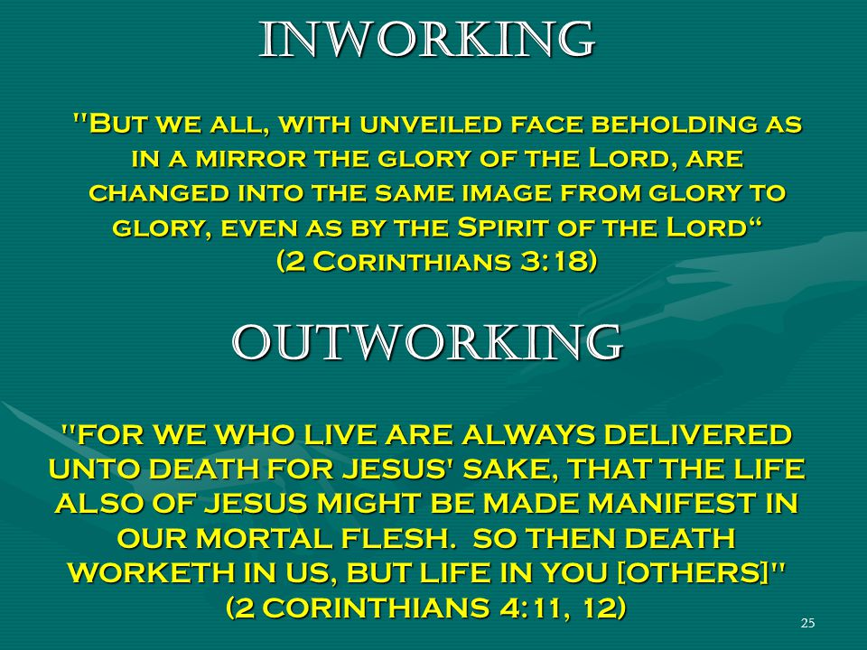 25 INWORKING But we all, with unveiled face beholding as in a mirror the glory of the Lord, are changed into the same image from glory to glory, even as by the Spirit of the Lord (2 Corinthians 3:18) OUTWORKING FOR WE WHO LIVE ARE ALWAYS DELIVERED UNTO DEATH FOR JESUS SAKE, THAT THE LIFE ALSO OF JESUS MIGHT BE MADE MANIFEST IN OUR MORTAL FLESH.