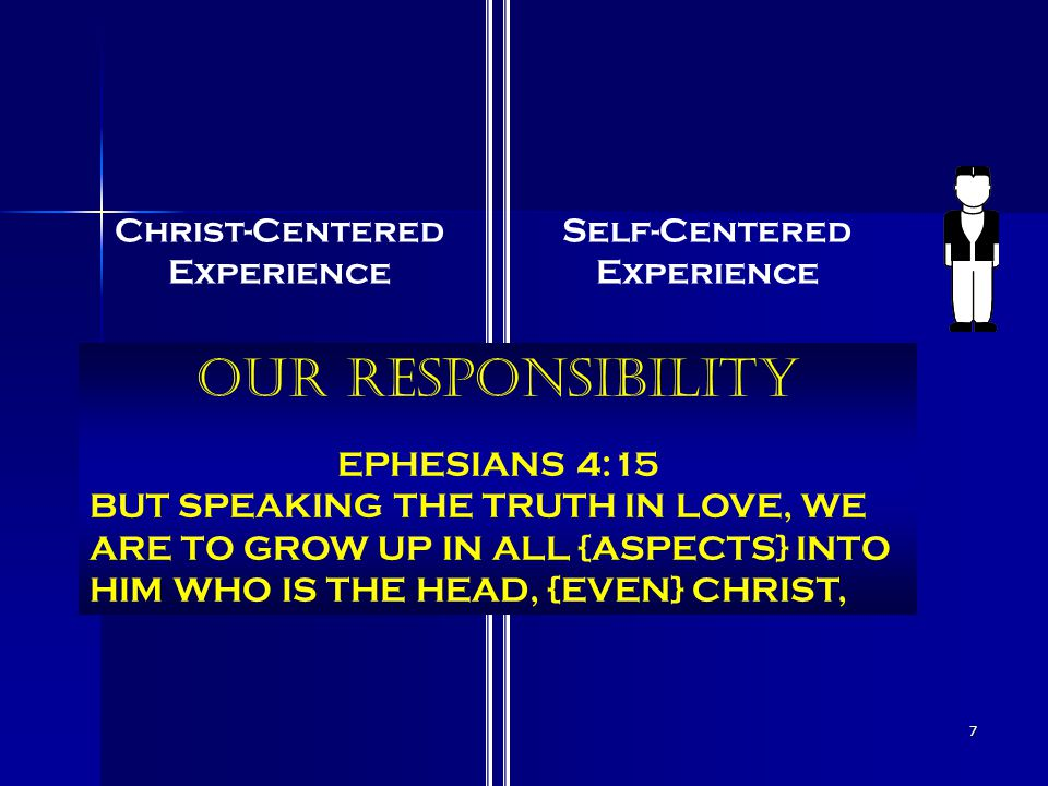 7 Christ-Centered Experience Self-Centered Experience Our Responsibility EPHESIANS 4:15 BUT SPEAKING THE TRUTH IN LOVE, WE ARE TO GROW UP IN ALL {ASPECTS} INTO HIM WHO IS THE HEAD, {EVEN} CHRIST,