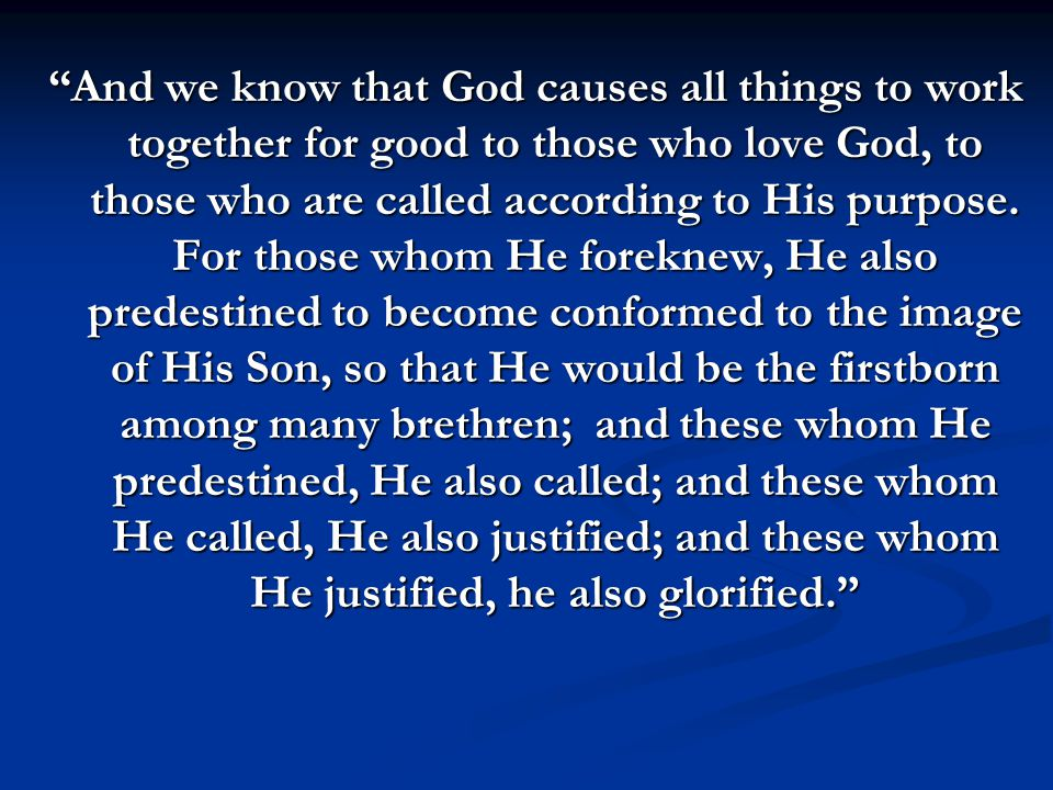 God's Mission Statement (called according to His purpose) For whom He foreknew… Foreknew means to know intimately beforehand .