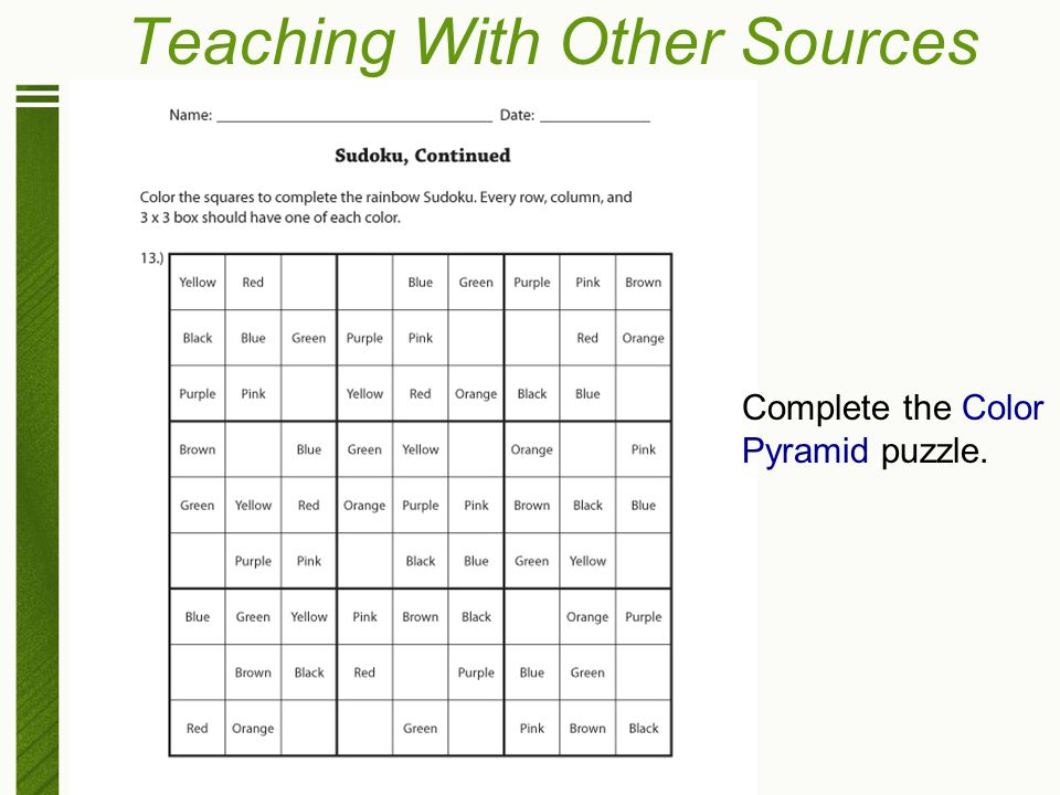 Teaching With Other Sources Complete the Color Pyramid puzzle.