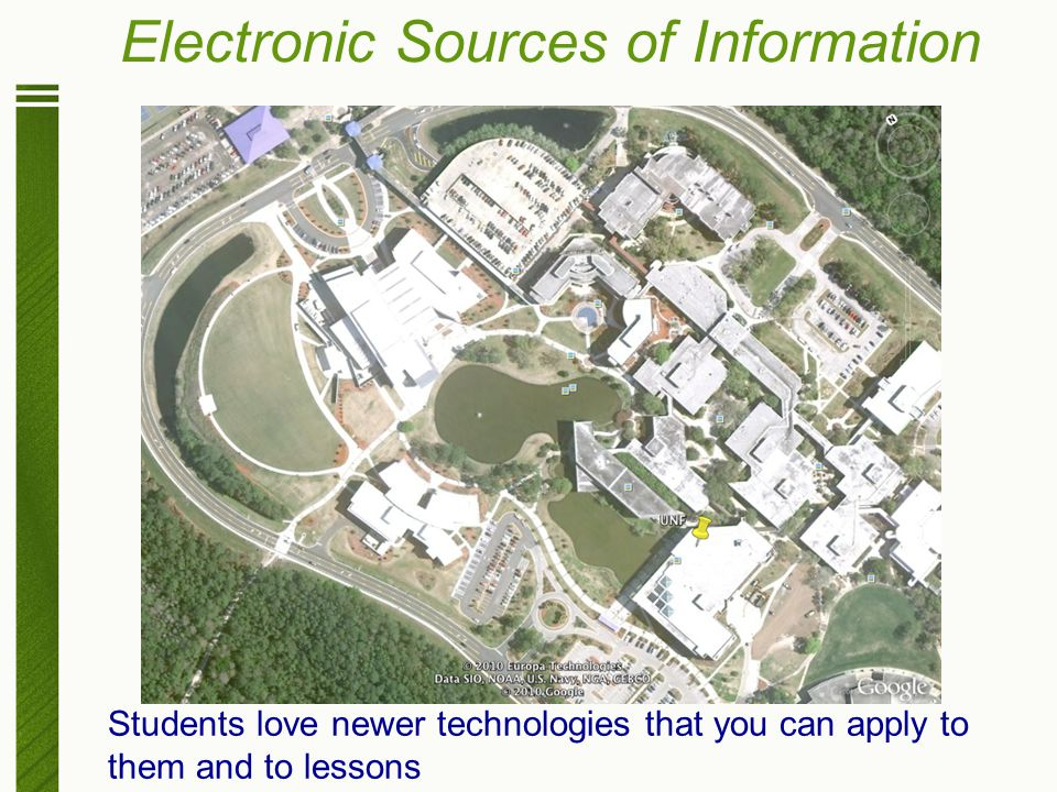 Electronic Sources of Information Students love newer technologies that you can apply to them and to lessons