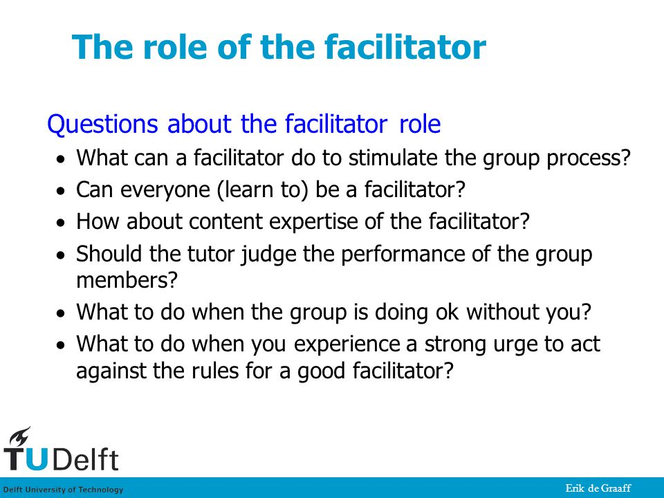 Erik de Graaff The role of the facilitator Questions about the facilitator role  What can a facilitator do to stimulate the group process?  Can ever