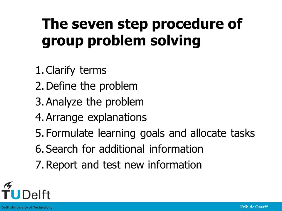 Erik de Graaff The seven step procedure of group problem solving 1.Clarify terms 2.Define the problem 3.Analyze the problem 4.Arrange explanations 5.Formulate learning goals and allocate tasks 6.Search for additional information 7.Report and test new information