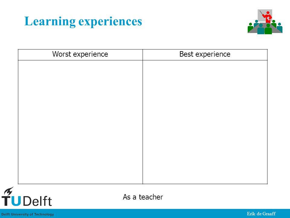 Erik de Graaff Learning experiences Worst experienceBest experience As a teacher