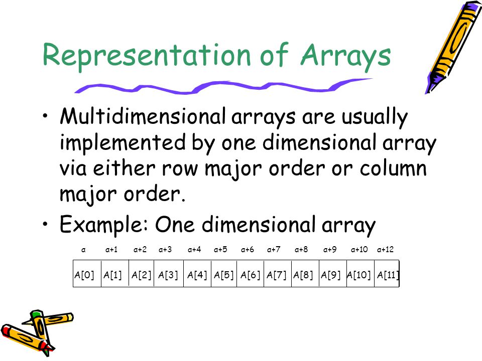 Representation of Arrays Multidimensional arrays are usually implemented by one dimensional array via either row major order or column major order.