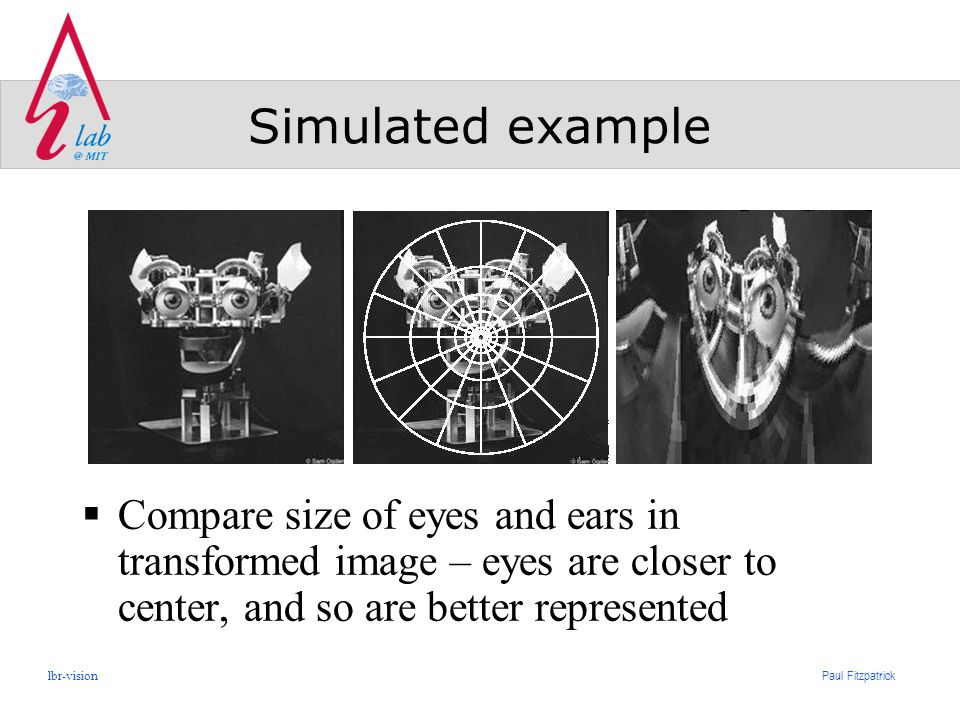 Paul Fitzpatrick lbr-vision Simulated example  Compare size of eyes and ears in transformed image – eyes are closer to center, and so are better represented