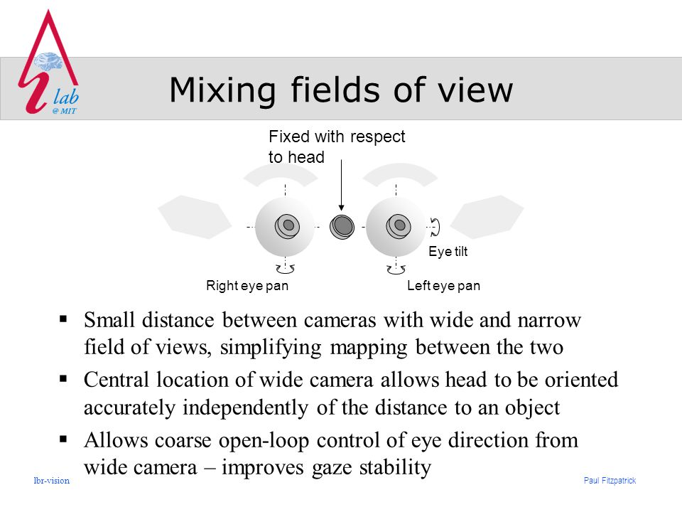 Paul Fitzpatrick lbr-vision Mixing fields of view  Small distance between cameras with wide and narrow field of views, simplifying mapping between the two  Central location of wide camera allows head to be oriented accurately independently of the distance to an object  Allows coarse open-loop control of eye direction from wide camera – improves gaze stability Eye tilt Left eye panRight eye pan Fixed with respect to head