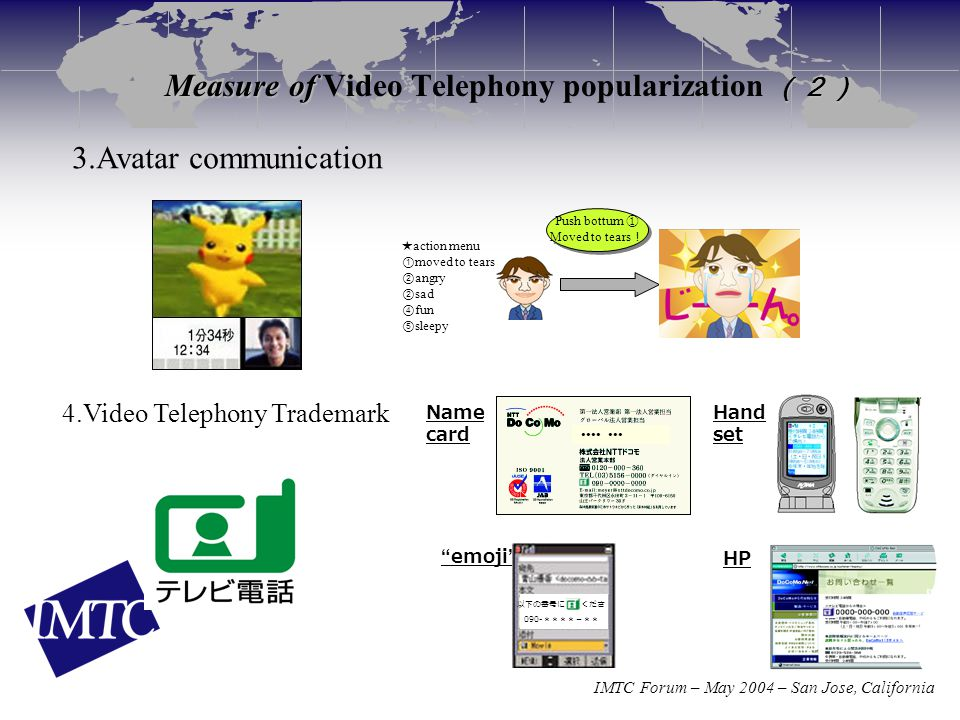 IMTC Forum – May 2004 – San Jose, California Measure of (2) Measure of Video Telephony popularization (2) 4.Video Telephony Trademark Name card Hand set HP emoji 以下の番号に くださ 090- ****-** ●●●● ●●● 3.Avatar communication ★ action menu ① moved to tears ② angry ② sad ④ fun ⑤ sleepy Push bottum ① Moved to tears ! Push bottum ① Moved to tears !