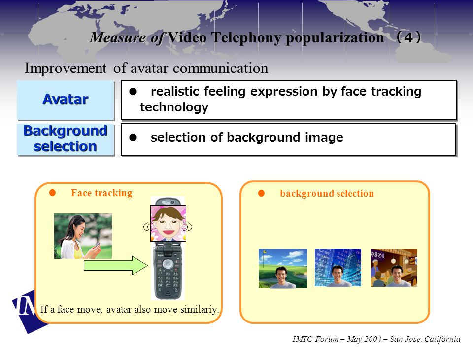 IMTC Forum – May 2004 – San Jose, California Measure of (4) Measure of Video Telephony popularization (4) Background selection AvatarAvatar ● selection of background image ● realistic feeling expression by face tracking technology ● background selection ● Face tracking If a face move, avatar also move similariy.