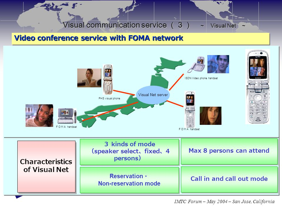 IMTC Forum – May 2004 – San Jose, California Visual communication service (3) ~ Visual Net ~ Video conference service with FOMA network Video conferen