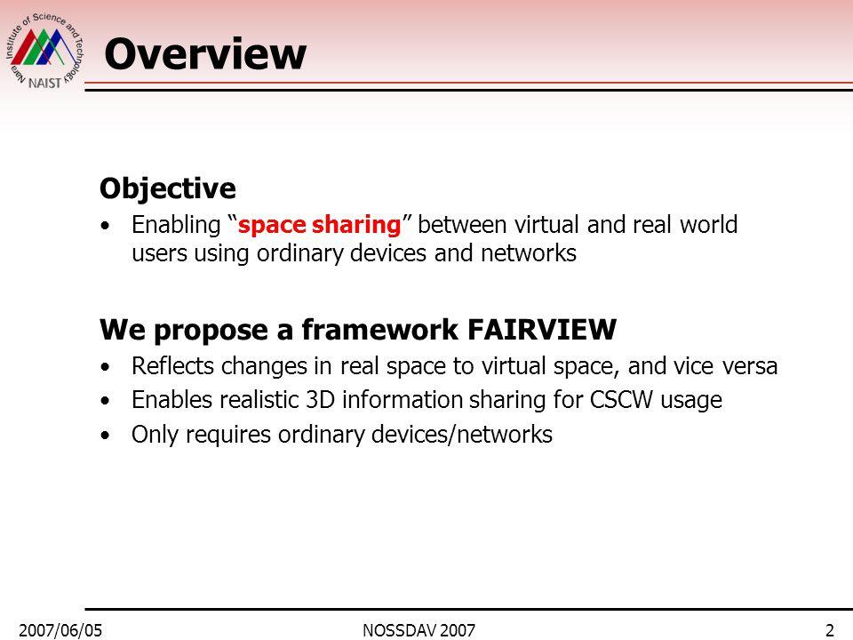 2007/06/05NOSSDAV 20073 Outline 1.Background 2.Assumptions and ideas 3.