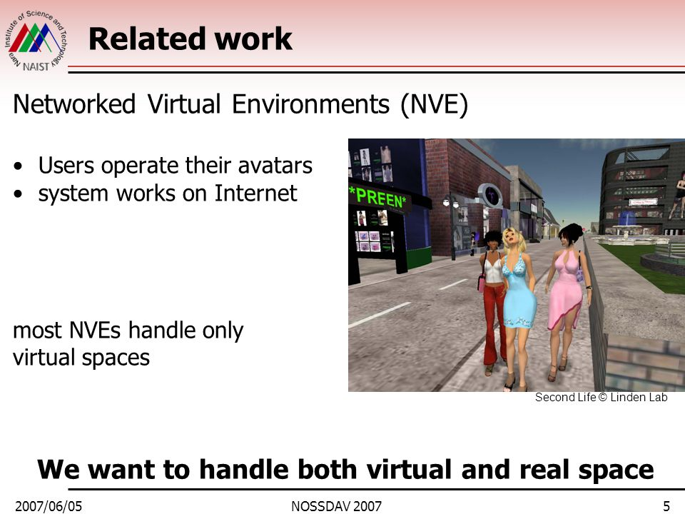 2007/06/05NOSSDAV 20076 Target environment Realizing a framework for large number of real and virtual users to share information via network –Applications: such as concert, shopping, exhibition, sports, game, etc… We propose FAIRVIEW △ is trade-off Sharing objects between real and virtual worlds can be realized using Mixed Reality techniques.