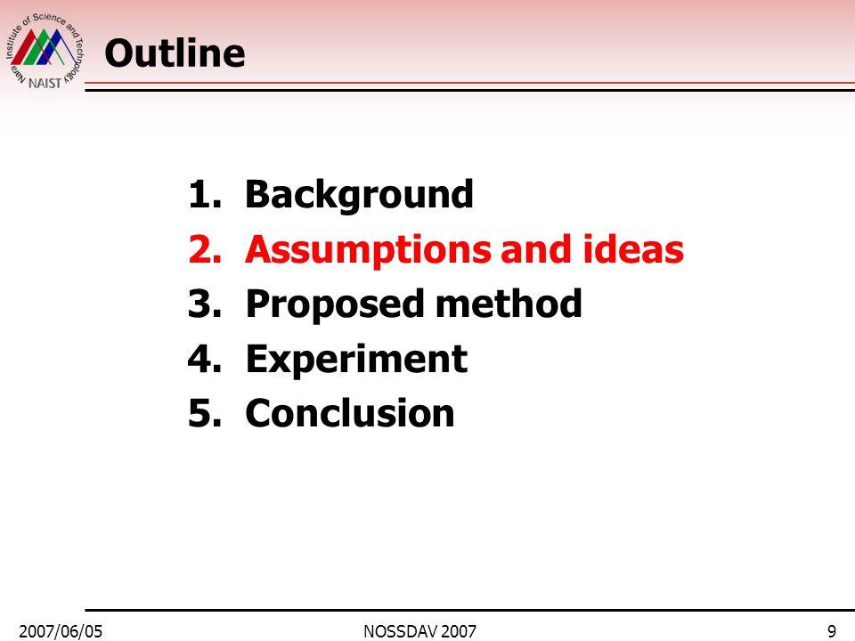 2007/06/05NOSSDAV 20079 Outline 1.Background 2. Assumptions and ideas 3.