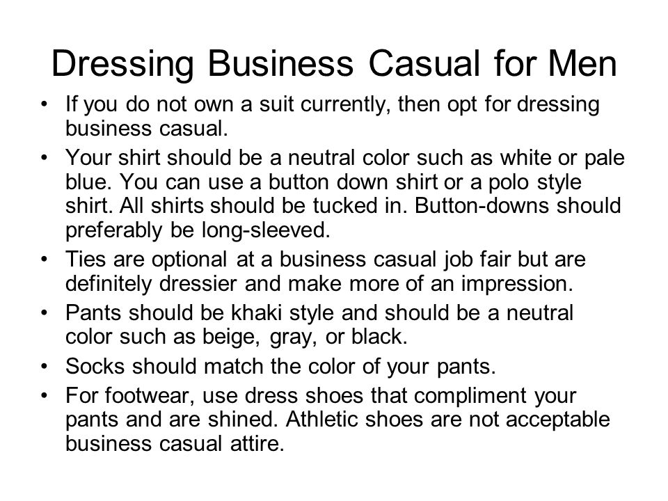 Appropriate Professional Dress Examples: