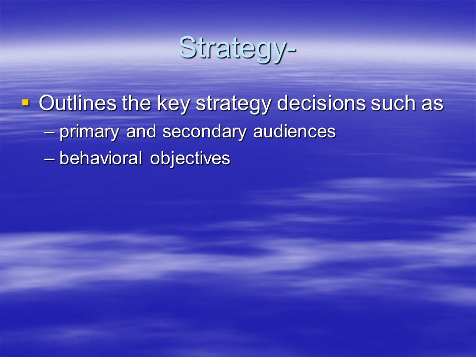 Strategy-  Outlines the key strategy decisions such as –primary and secondary audiences –behavioral objectives