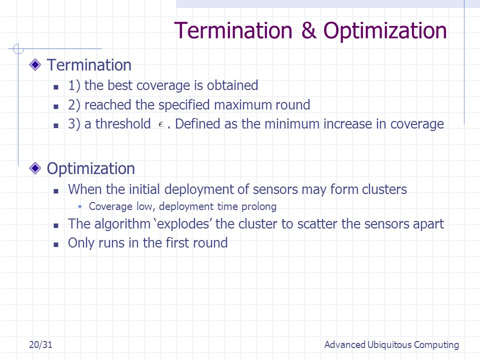 Termination & Optimization Termination 1) the best coverage is obtained 2) reached the specified maximum round 3) a threshold.