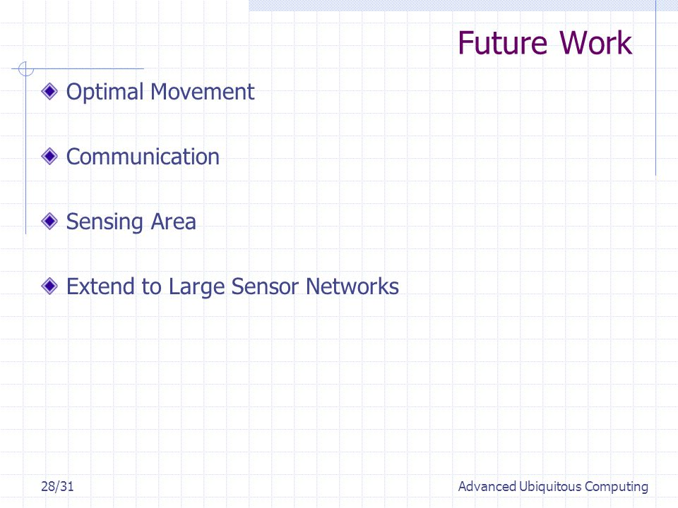 Future Work 28/31Advanced Ubiquitous Computing Optimal Movement Communication Sensing Area Extend to Large Sensor Networks