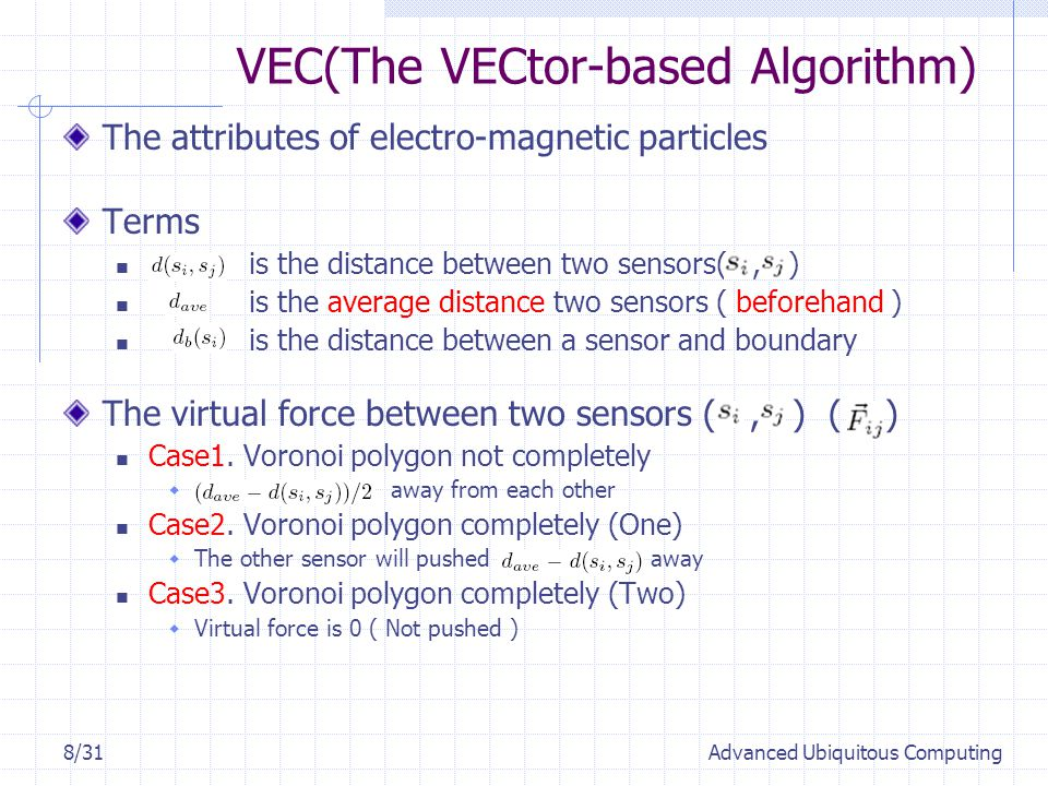 VEC(The VECtor-based Algorithm) The attributes of electro-magnetic particles Terms is the distance between two sensors(, ) is the average distance two sensors ( beforehand ) is the distance between a sensor and boundary The virtual force between two sensors (, ) ( ) Case1.