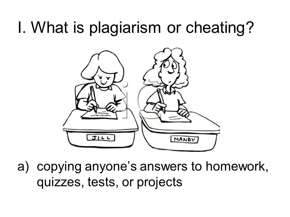 I. What is plagiarism or cheating.