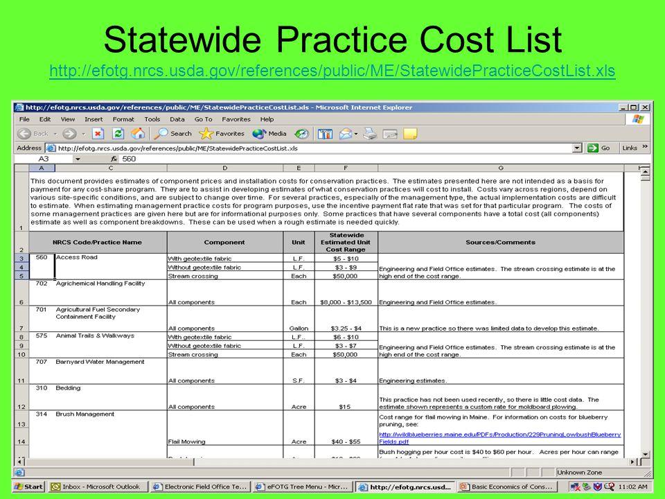 Statewide Practice Cost List http://efotg.nrcs.usda.gov/references/public/ME/StatewidePracticeCostList.xls http://efotg.nrcs.usda.gov/references/publi