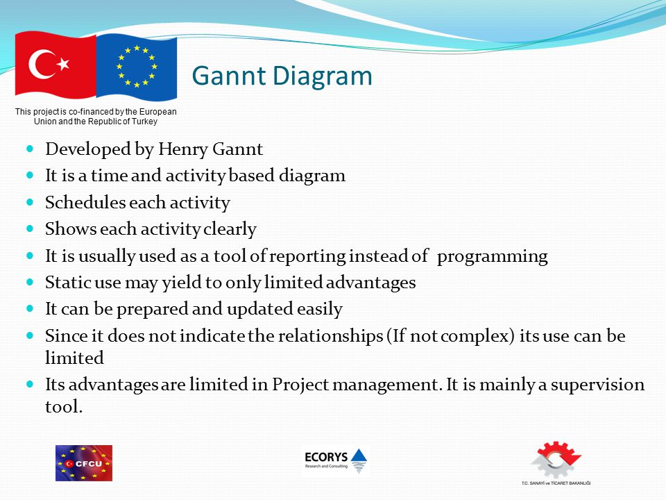 This project is co-financed by the European Union and the Republic of Turkey Gannt Diagram Developed by Henry Gannt It is a time and activity based diagram Schedules each activity Shows each activity clearly It is usually used as a tool of reporting instead of programming Static use may yield to only limited advantages It can be prepared and updated easily Since it does not indicate the relationships (If not complex) its use can be limited Its advantages are limited in Project management.
