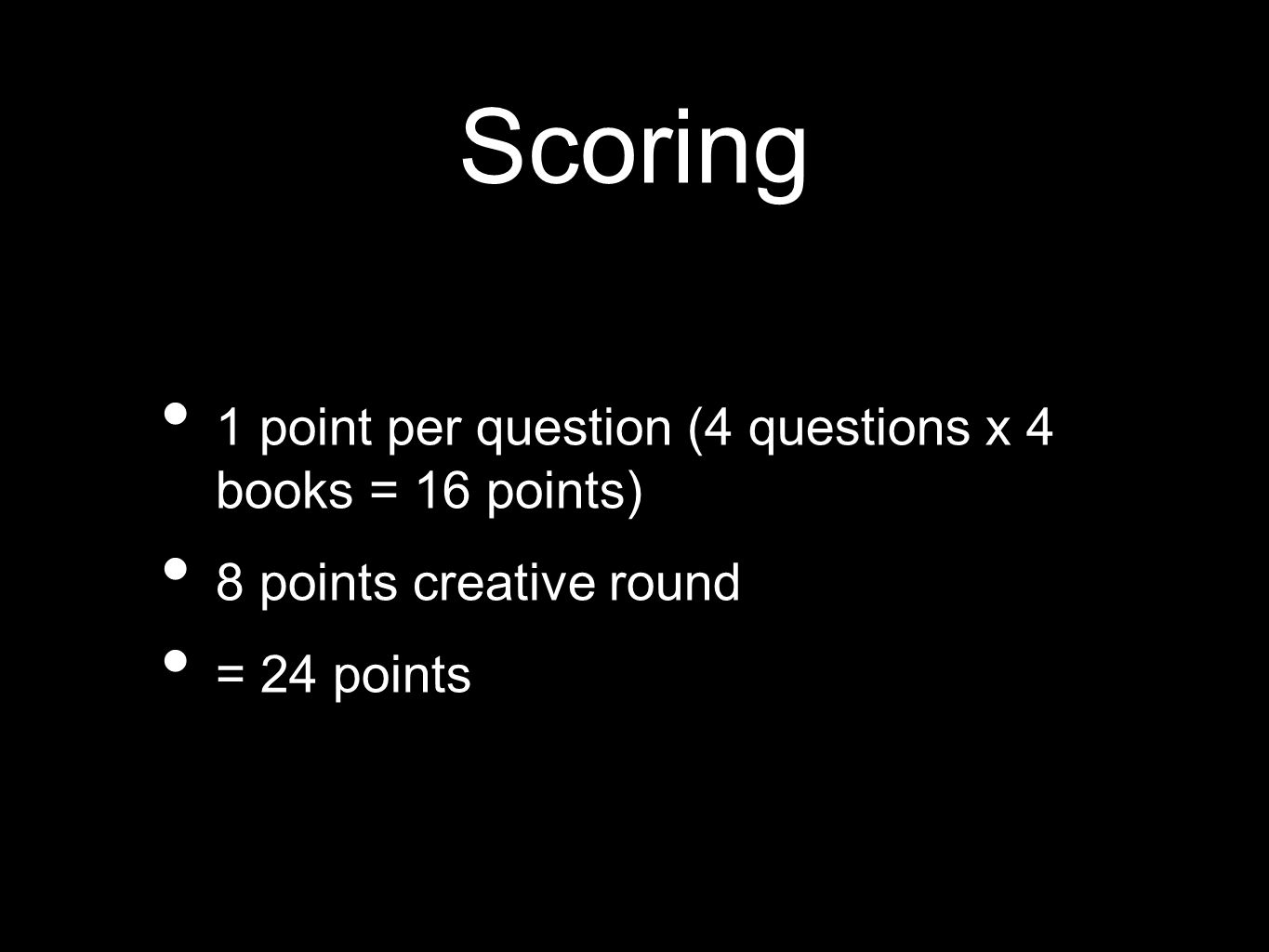 Scoring 1 point per question (4 questions x 4 books = 16 points) 8 points creative round = 24 points