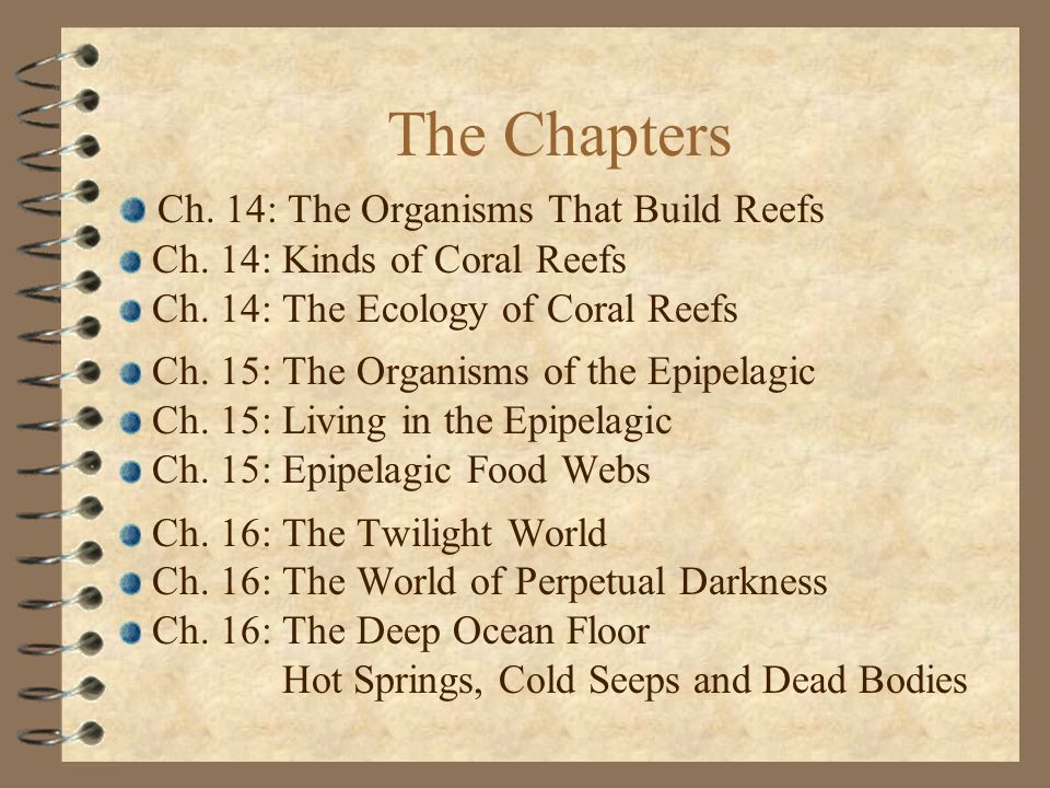 The Chapters Ch. 14: The Organisms That Build Reefs Ch.