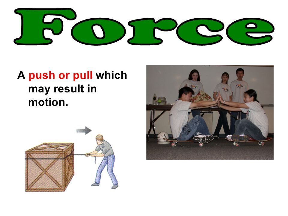 A push or pull which may result in motion.