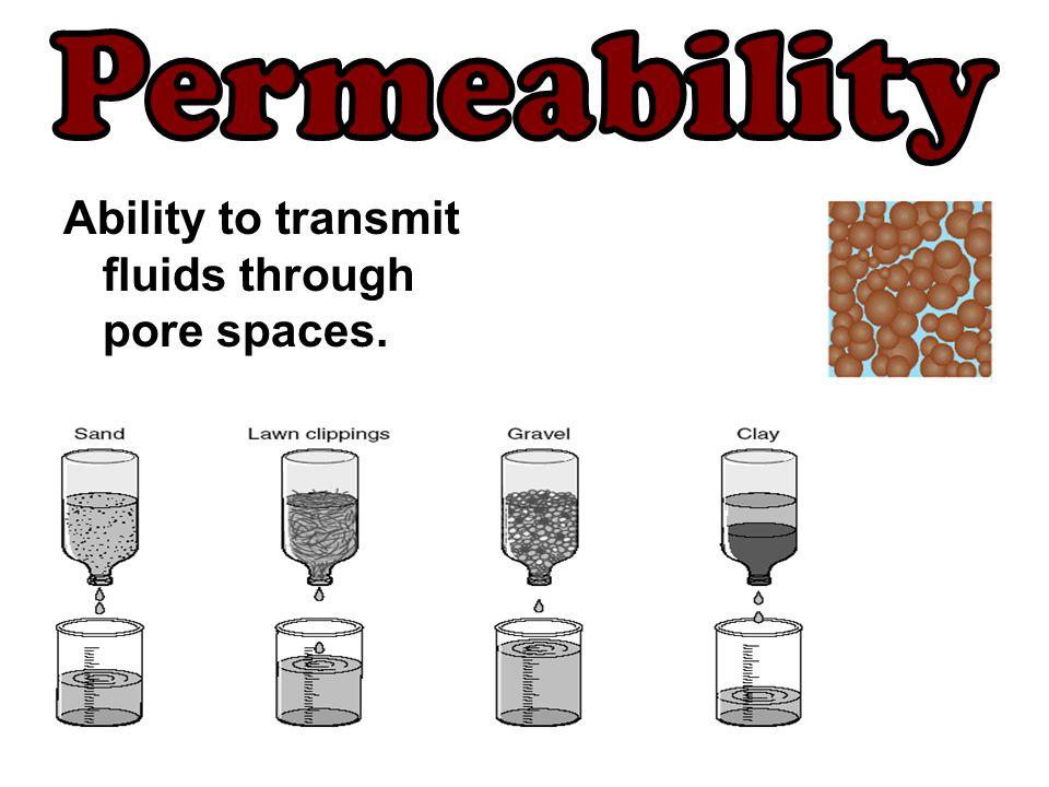 Ability to transmit fluids through pore spaces.