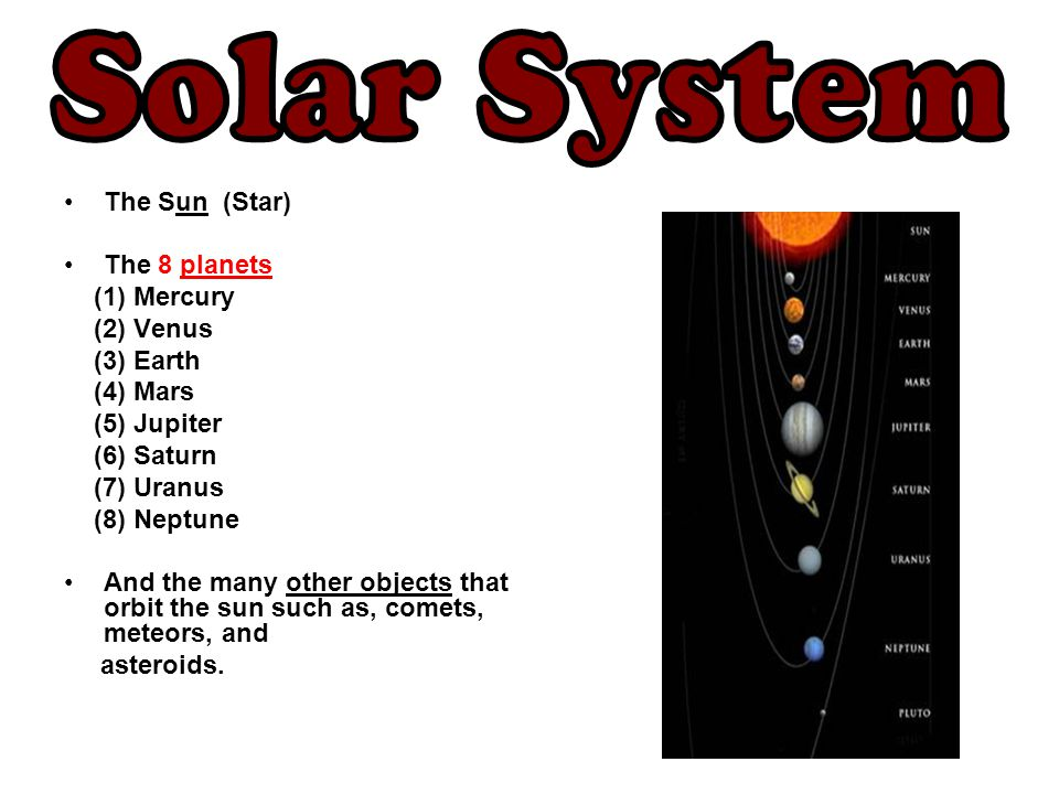 The Sun (Star) The 8 planets (1) Mercury (2) Venus (3) Earth (4) Mars (5) Jupiter (6) Saturn (7) Uranus (8) Neptune And the many other objects that or