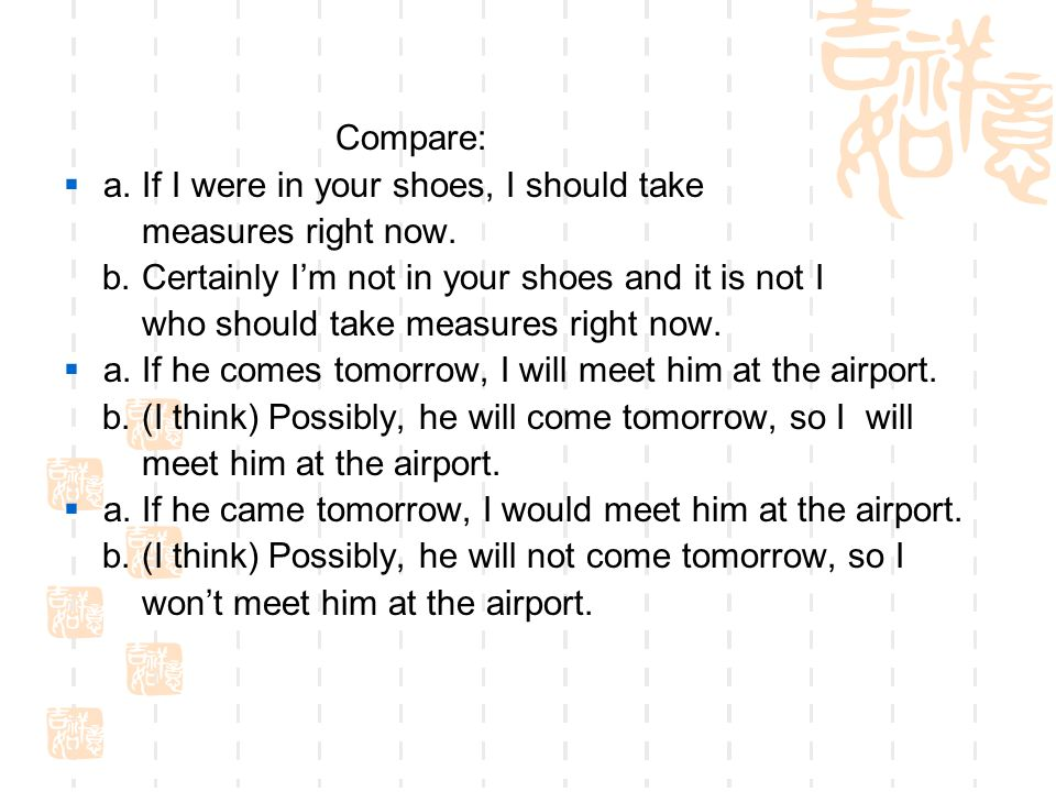 Compare:  a. If I were in your shoes, I should take measures right now.