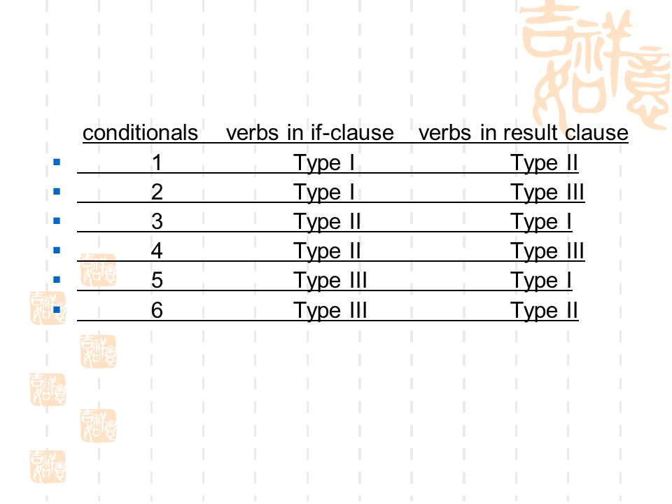 conditionals verbs in if-clause verbs in result clause  1 Type I Type II  2 Type I Type III  3 Type II Type I  4 Type II Type III  5 Type III Type I  6 Type III Type II