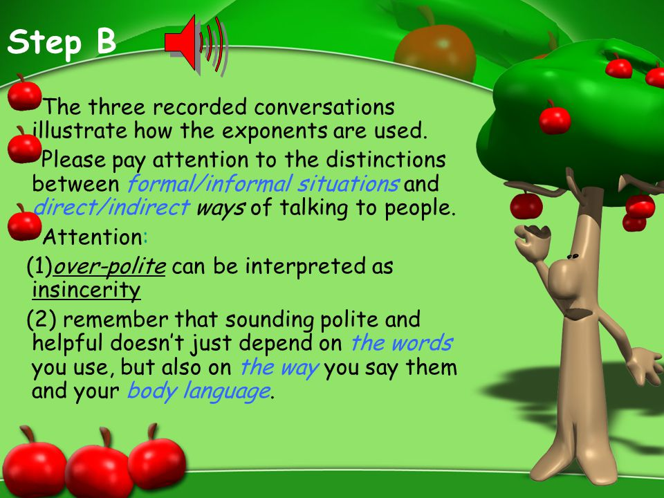 Step B The three recorded conversations illustrate how the exponents are used. Please pay attention to the distinctions between formal/informal situat