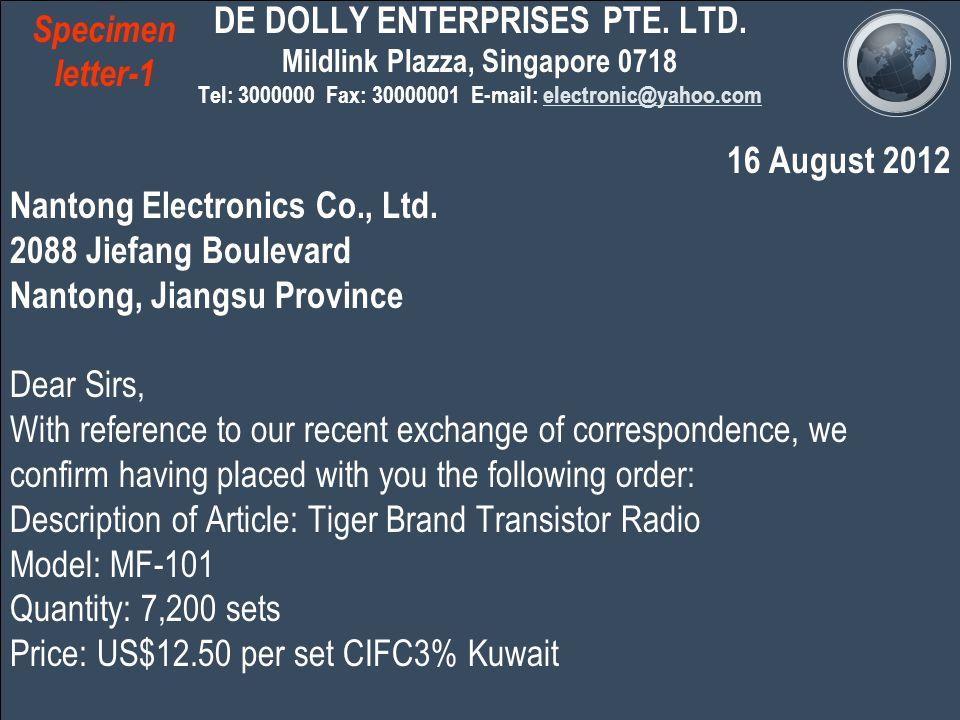 DE DOLLY ENTERPRISES PTE. LTD.