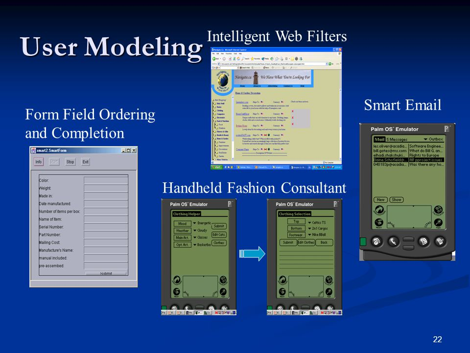 22 User Modeling Intelligent Web Filters Form Field Ordering and Completion Smart Email Handheld Fashion Consultant