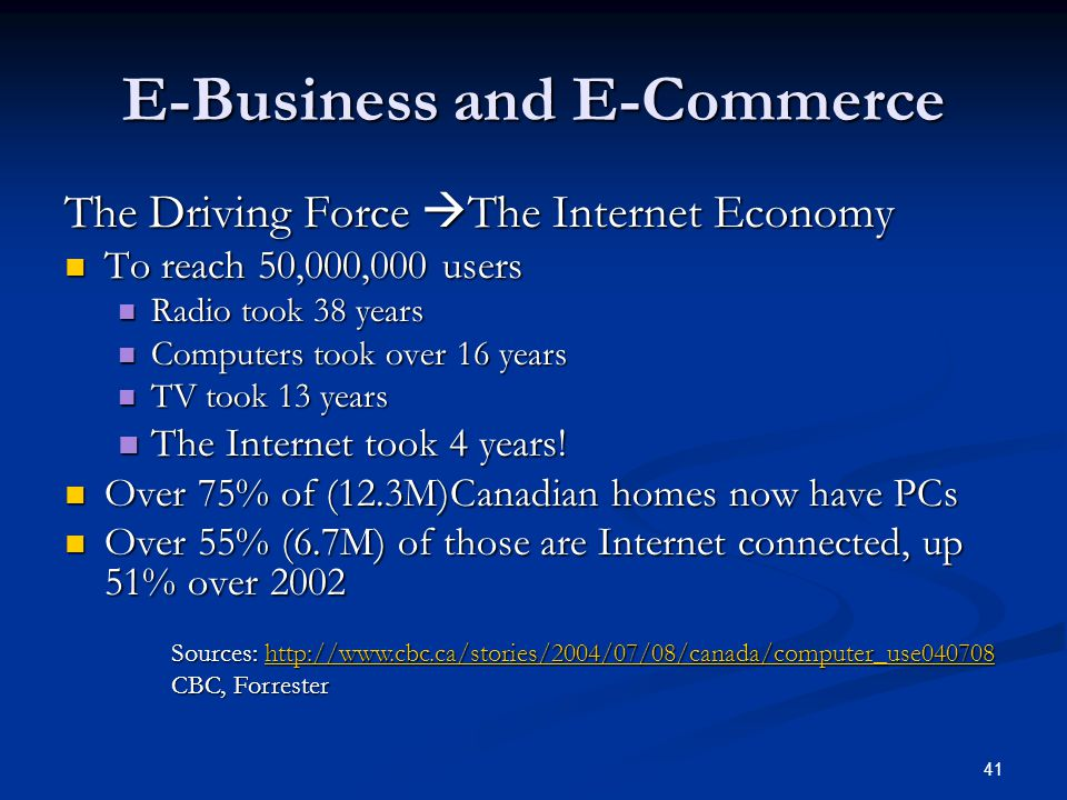 41 E-Business and E-Commerce The Driving Force  The Internet Economy To reach 50,000,000 users To reach 50,000,000 users Radio took 38 years Radio took 38 years Computers took over 16 years Computers took over 16 years TV took 13 years TV took 13 years The Internet took 4 years.