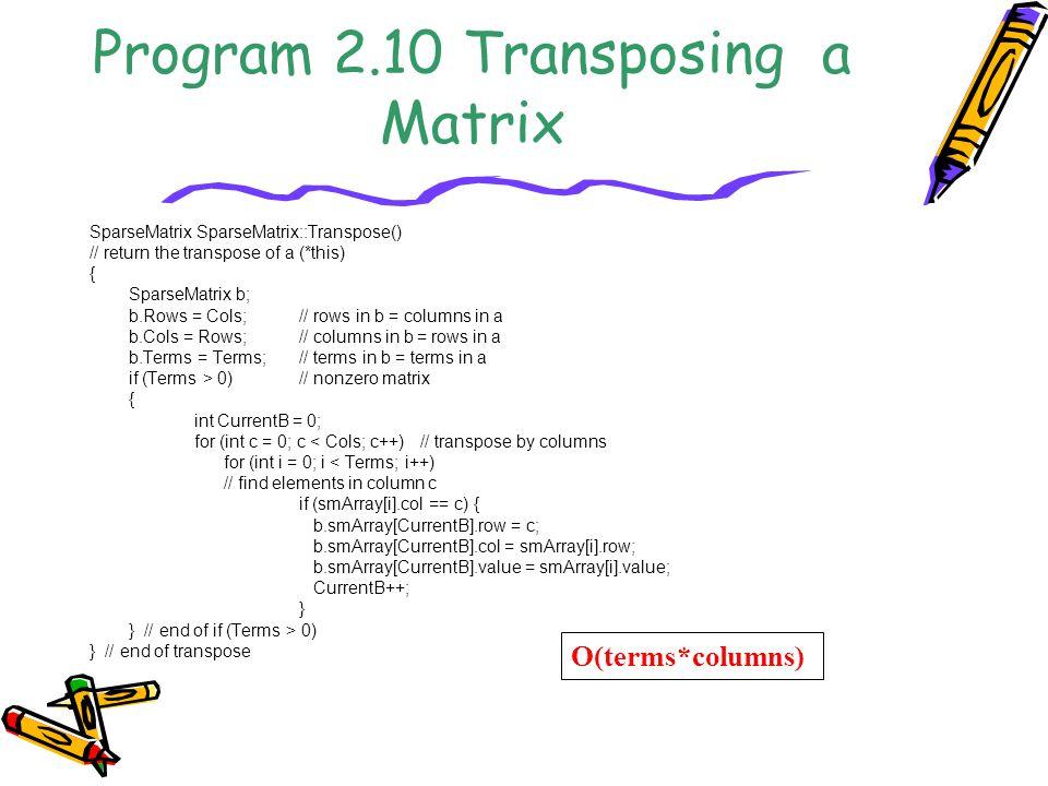 Program 2.10 Transposing a Matrix SparseMatrix SparseMatrix::Transpose() // return the transpose of a (*this) { SparseMatrix b; b.Rows = Cols;// rows