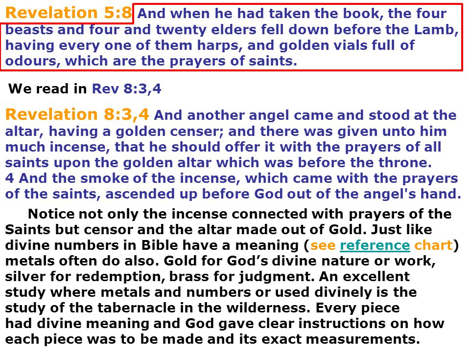 Revelation 8:3,4 And another angel came and stood at the altar, having a golden censer; and there was given unto him much incense, that he should offe