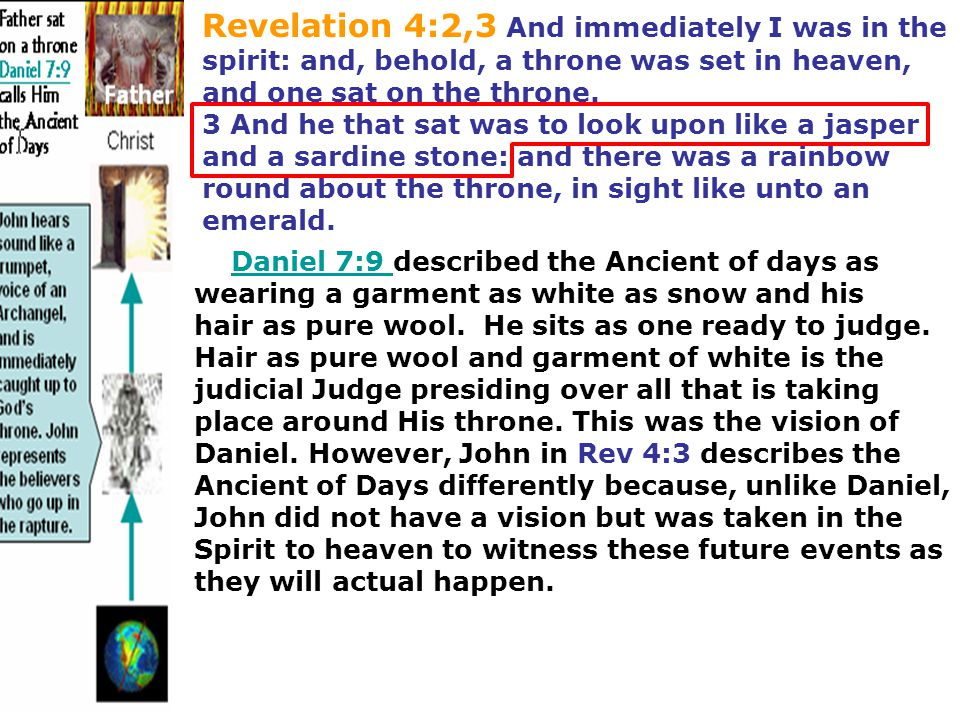 Revelation 4:2,3 And immediately I was in the spirit: and, behold, a throne was set in heaven, and one sat on the throne. 3 And he that sat was to loo