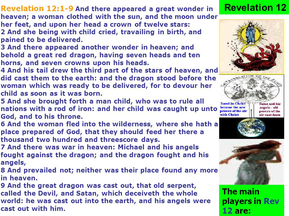 The main players in Rev 12 are: Revelation 12 Revelation 12:1-9 And there appeared a great wonder in heaven; a woman clothed with the sun, and the moo