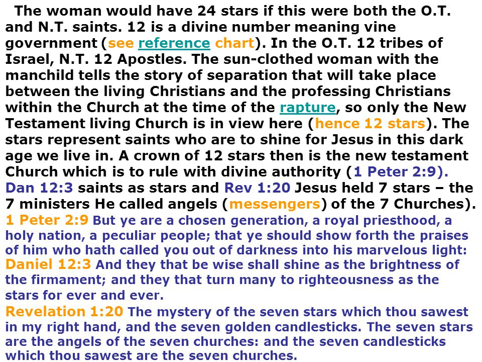 The woman would have 24 stars if this were both the O.T. and N.T. saints. 12 is a divine number meaning vine government (see reference chart). In the