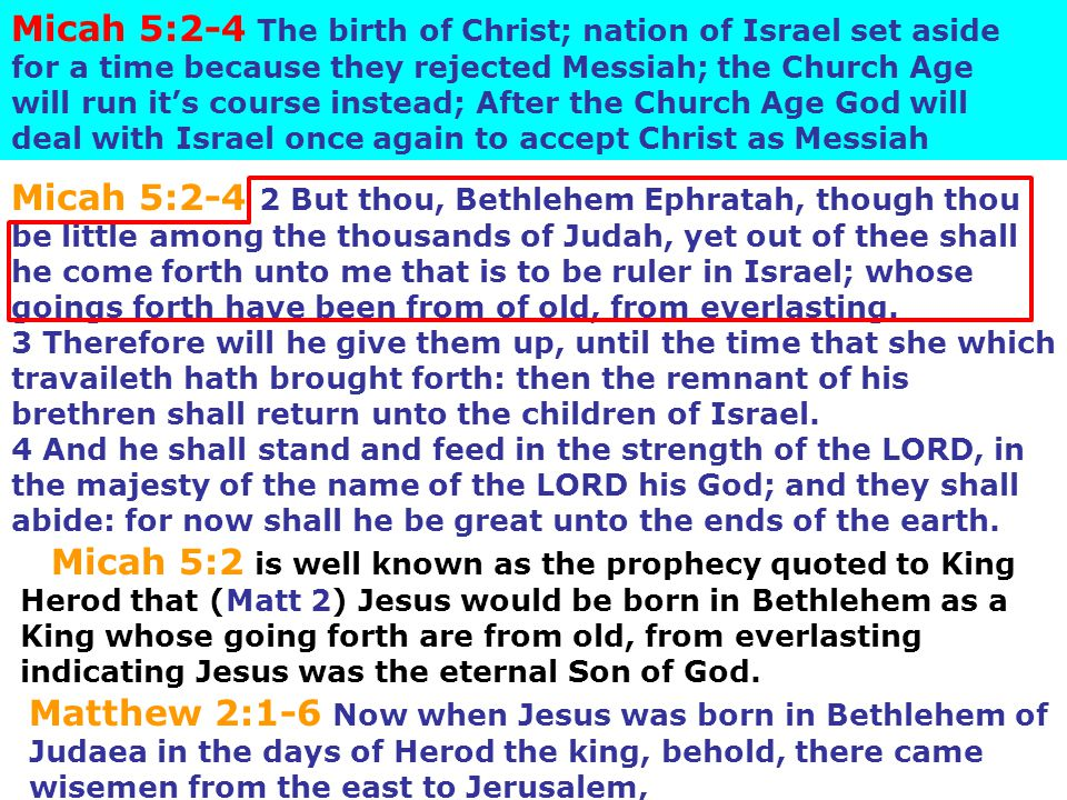 Micah 5:2-4 The birth of Christ; nation of Israel set aside for a time because they rejected Messiah; the Church Age will run it's course instead; Aft