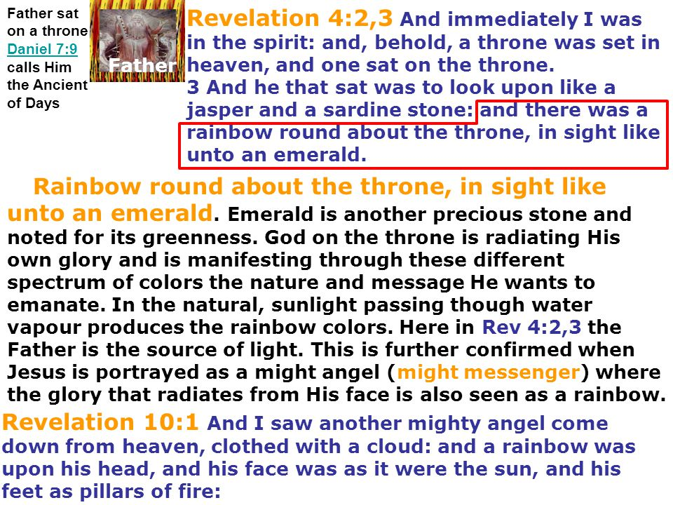 Father sat on a throne Daniel 7:9 calls Him the Ancient of Days Daniel 7:9 Father Revelation 4:2,3 And immediately I was in the spirit: and, behold, a
