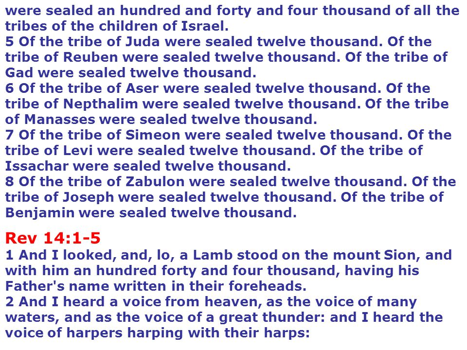 were sealed an hundred and forty and four thousand of all the tribes of the children of Israel. 5 Of the tribe of Juda were sealed twelve thousand. Of