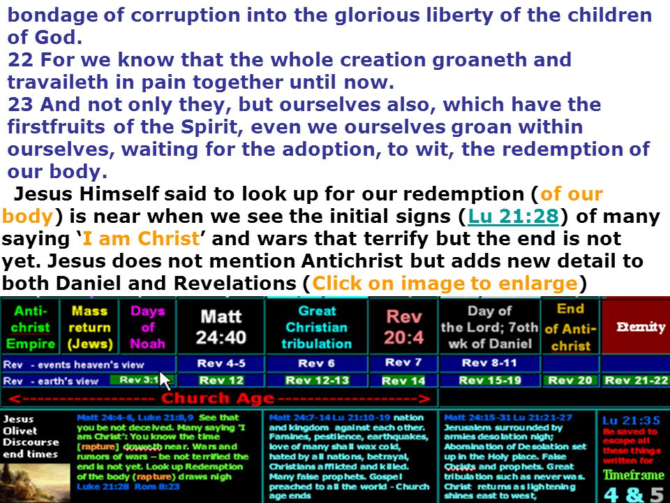 bondage of corruption into the glorious liberty of the children of God. 22 For we know that the whole creation groaneth and travaileth in pain togethe