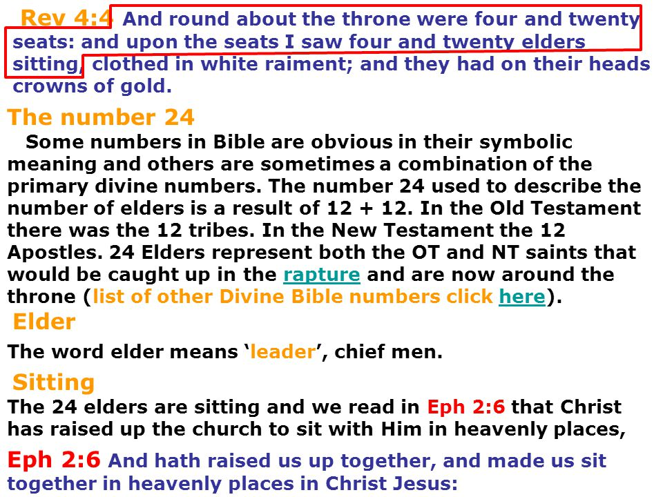 Some numbers in Bible are obvious in their symbolic meaning and others are sometimes a combination of the primary divine numbers. The number 24 used t